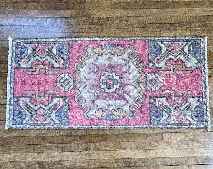 "3'1"" x 1'5"" - Small Vintage Oushak Rug  |  Turkish Oushak |  Pink, Blue and Mauve Rug  |  Vintage Turkish Runner"