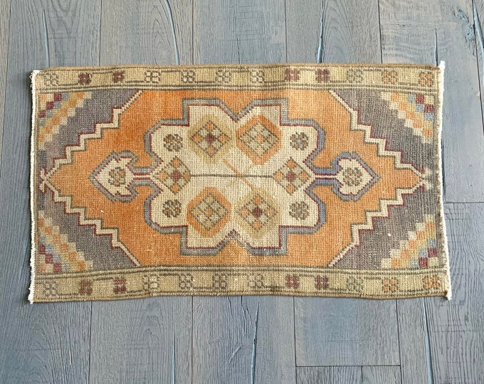 "Small Turkish Oushak Rug  - 2'8"" x 1'7"""