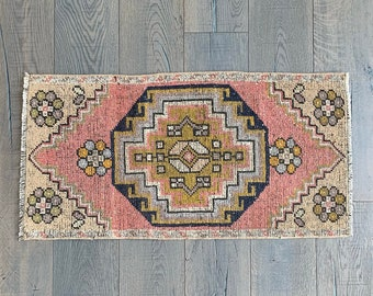"Small Faded Vintage Turkish Rug - 3'2"" x 1'7"""