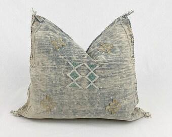 "Vintage Sabra Silk Pillow - Faded Blue Grey     20"" x 20""     Moroccan Cactus Silk Pillow"
