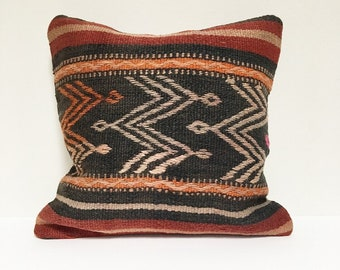 Vintage Turkish Rug Pillow no. 74     16 x 16     Turkish Kilim Pillow