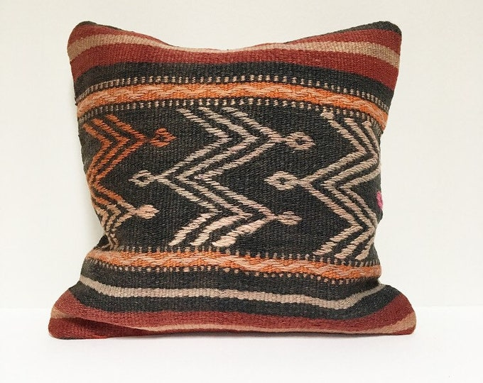 Vintage Turkish Rug Pillow no. 74  |  16 x 16  |  Turkish Kilim Pillow