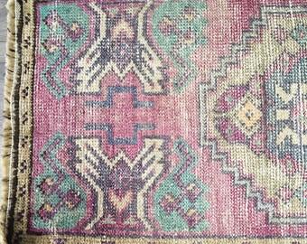 2.0 x 1.0  - Mini Vintage Turkish Ouahak Rug     Purple Rug     Faded Pastel Rug