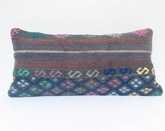 Vintage Turkish Rug Pillow no. 59     10 x 20  Lumbar Pillow     Kilim pillow