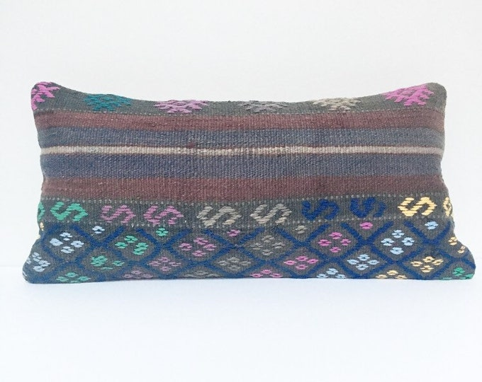 Vintage Turkish Rug Pillow no. 59  |  10 x 20  Lumbar Pillow  |  Kilim pillow
