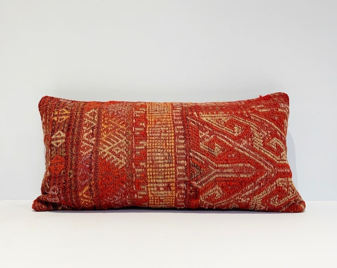 "Vintage Turkish Rug Pillow - 10"" x 20"" Lumbar  