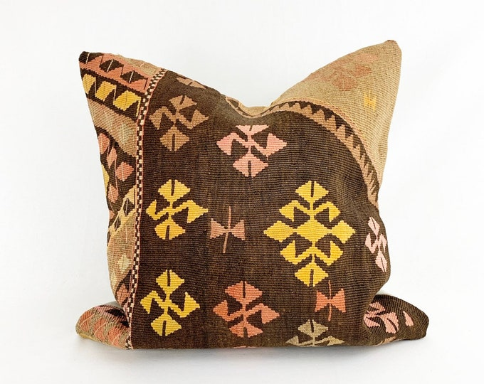 "Vintage Turkish Kilim Rug Pillow -  20"" x 20"" Large Square"