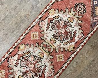 "Vintage Turkish Runner Rug   |  8'7"" x 1'10"" 
