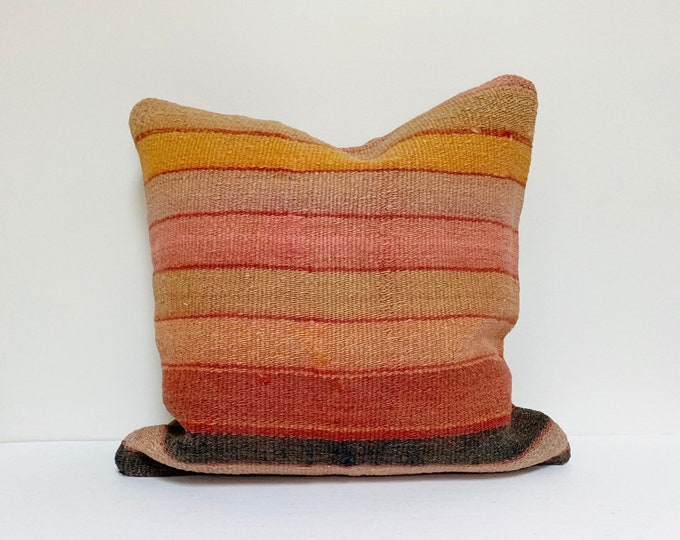 """16"""" x 16"""" Square Vintage Turkish Rug Pillow 