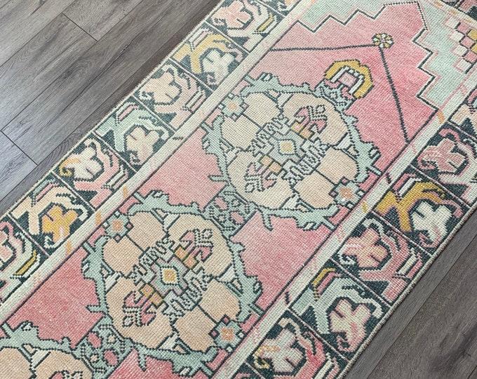 "9'4"" x 2'9"" - Vintage Turkish Runner Rug  |  Runner Rug  |  Pink Turkish Oushak Rug"