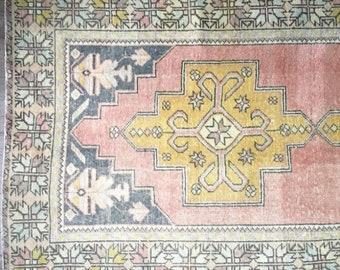 7.8 x 4.2 - Vintage Turkish Oushak Rug     Vintage Rug     Anatolian Rug     Faded Oushak