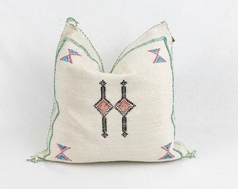 "White Sabra Silk Pillow  |  White Cactus Silk  | 18"" X 18""  