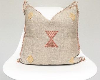 Vintage Faded Grey Sabra Silk Pillow no. 28     18 x 18     Moroccan Cactus Silk
