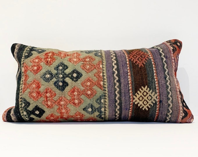 "Vintage Turkish Rug Pillow - 12"" x 24"" Lumbar  