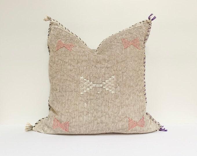 "Vintage Sabra Silk Pillow - Grey  |  16"" x 16""  |  Moroccan Cactus Silk Pillow"
