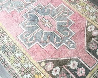7.7 x 4.2 - Vintage Turkish Rug  |  Pink and Grey Rug  |  Blush Rug