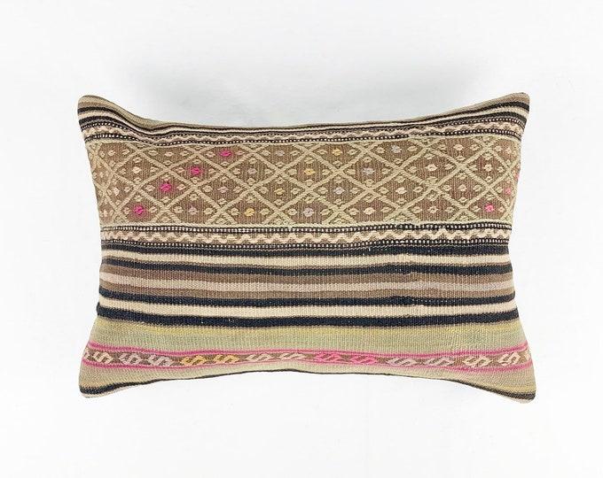 Large Vintage Turkish Rug Pillow - Lumbar  | 16 x 24 Large Lumbar Pillow |  Kilim Pillow  |  Pink and Brown Lumbar Pillow