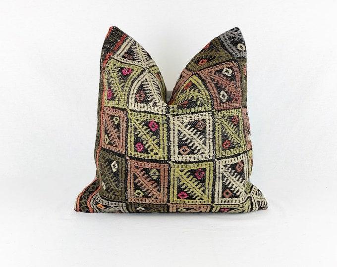 Large Vintage Turkish Rug Pillow |  Square Throw Pillow  |  18 x 18 |  Turkish Kilim Rug