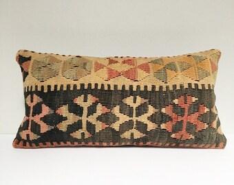 Vintage Turkish Rug Pillow no. 72  |  10 x 20 Lumbar  |  Grey and Pastel  |  Kilim Rug Pillow