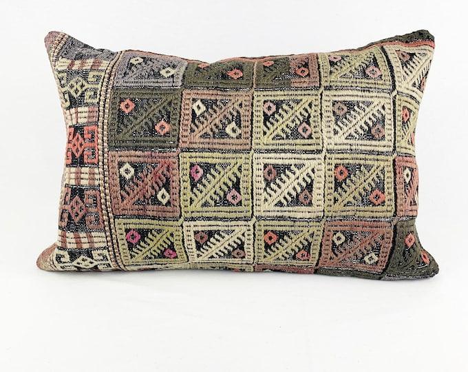 Large Vintage Turkish Rug Pillow - Lumbar  | 16 x 24 Large Lumbar Pillow |  Kilim Pillow  |  Green, Pink, Brown and Coral Lumbar