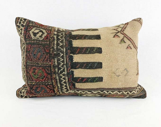 Large Vintage Turkish Rug Pillow - Lumbar  | 16 x 24 Large Lumbar Pillow |  Kilim Pillow  |  Pink and Grey Lumbar Pillow