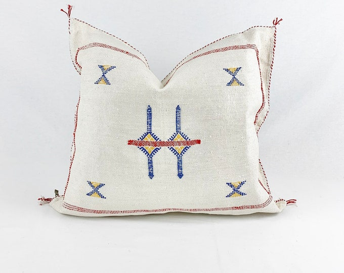 """White Sabra Silk Pillow     White Cactus Silk    18"""" X 18""""     Square Throw Pillow"""