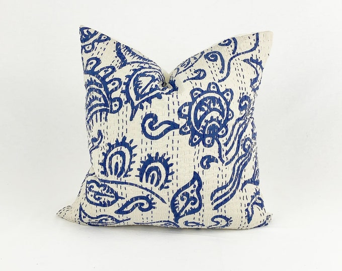 """Blue and White Vintage Kantha Pillow   Sari Pillow     White Throw Pillow    16"""" X 16""""    Square Throw Pillow"""