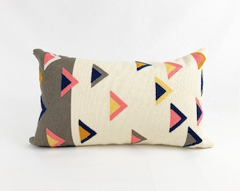 Colourful Lumbar Pillow Cover | Green, White, Pink and Blue Throw Pillow | 10 x 20 Pillow