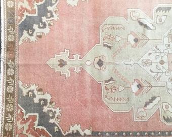 4.3 x 7.6  - Vintage Turkish Oushak Rug  |  Pink Faded Rug