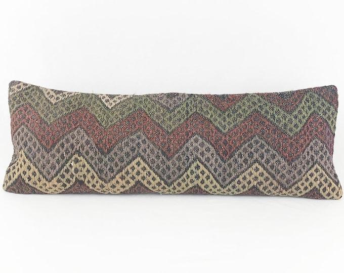 XL Turkish Rug Pillow - 12 x 36 Lumbar |  Long Lumbar  |  Turkish Kilim Lumbar Pillow