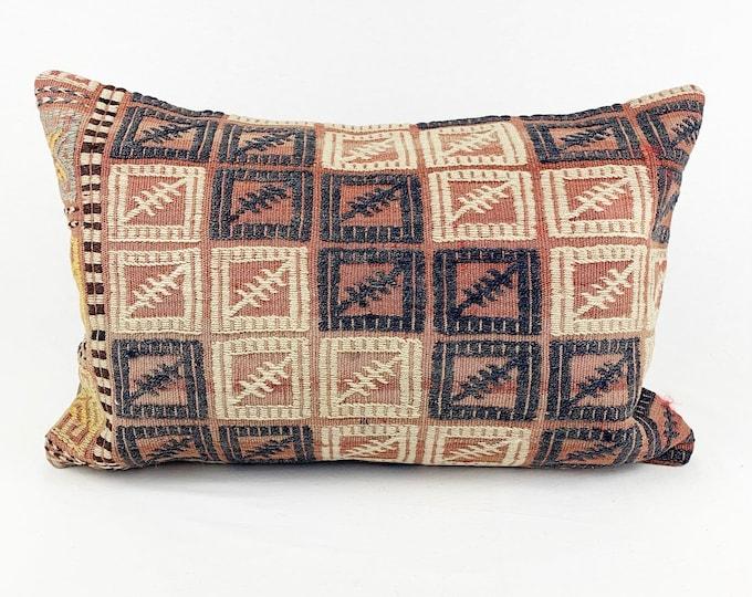 Large Vintage Turkish Rug Pillow - Lumbar  | 16 x 24 Large Lumbar Pillow |  Kilim Pillow - Pink, Blue and White