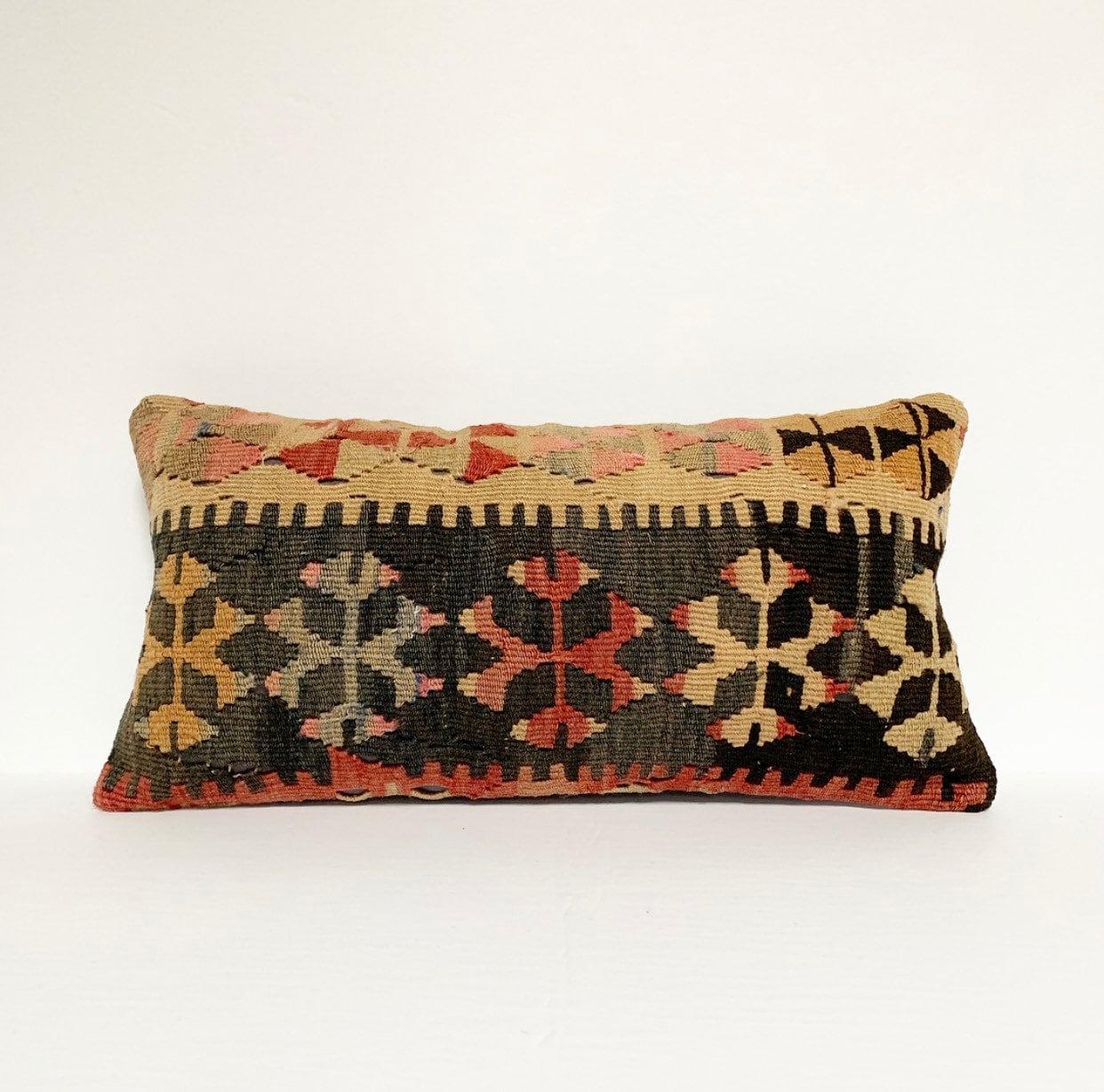 Vintage Turkish Rug Pillow - 10 X 20 Lumbar