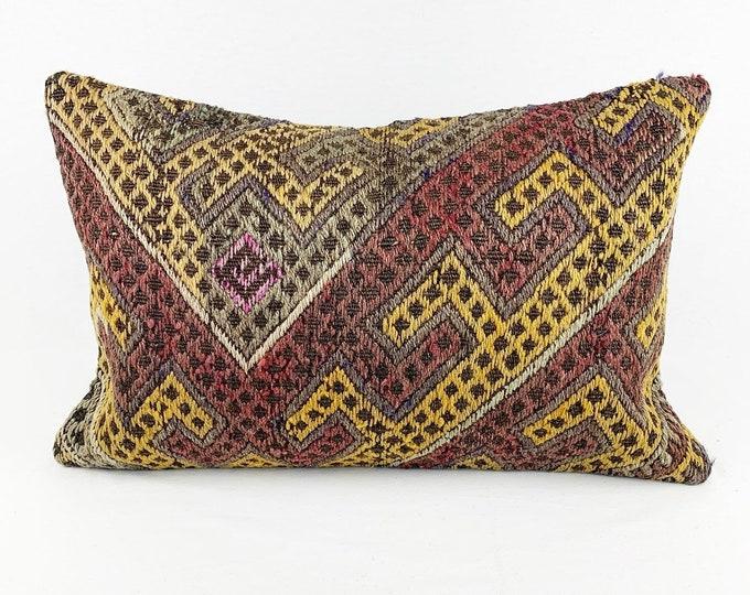 Large Vintage Turkish Rug Pillow - Lumbar  | 16 x 24 Large Lumbar Pillow |  Kilim Pillow  |  Purple, Khaki Green, Yellow and Beige Lumbar