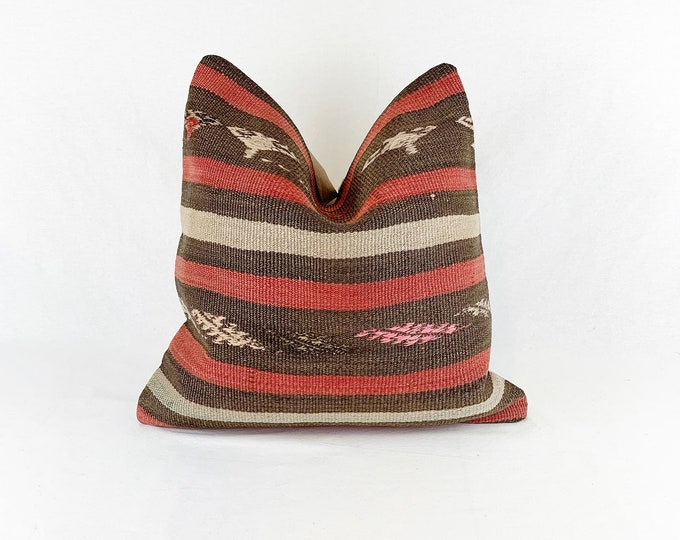 Vintage Turkish Rug Pillow | 18 x 18 | Square Throw Pillow | Kilim Pillow