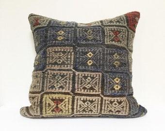 Large Vintage Turkish Rug Pillow no. 70  |  22 x 22  |  Square  |  Turkish Kilim Rug