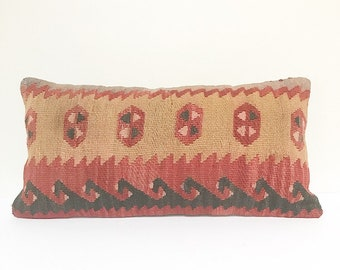 Vintage Turkish Rug Pillow no. 39  | 10 x 20 Lumbar  |  Kilim Pillow  |