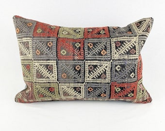 Large Vintage Turkish Rug Pillow - Lumbar  | 16 x 24 Large Lumbar Pillow |  Kilim Pillow  |  Pinky red, Blue, Green, Coral and Purple Lumbar