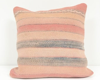 Vintage Turkish Rug Pillow no. 52  |  Square 16 x 16  |  Pink