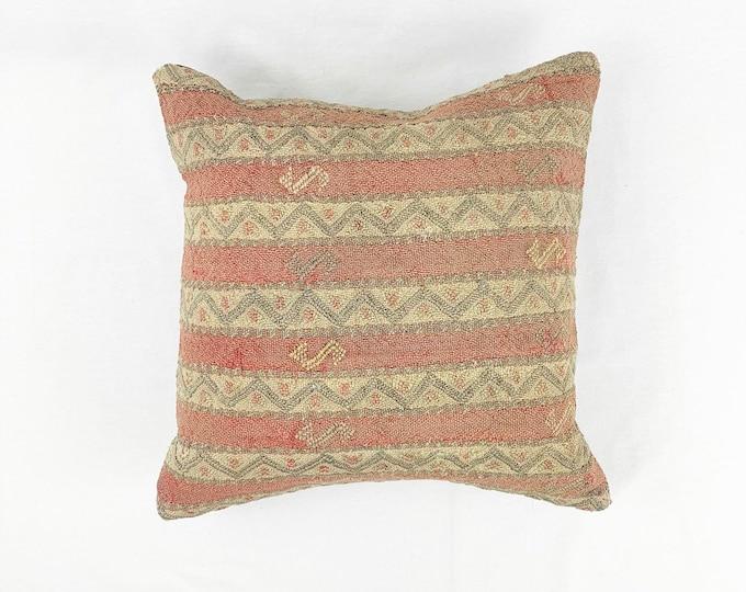 Vintage Turkish Rug Pillow | 16 x 16 | Square Throw Pillow | Kilim Pillow