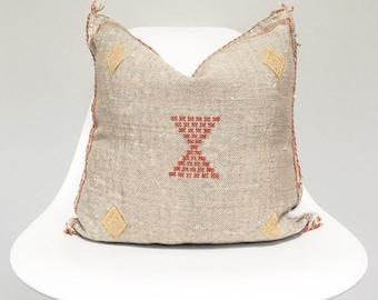 Vintage Faded Grey Sabra Silk Pillow no. 28  |  18 x 18  |  Moroccan Cactus Silk