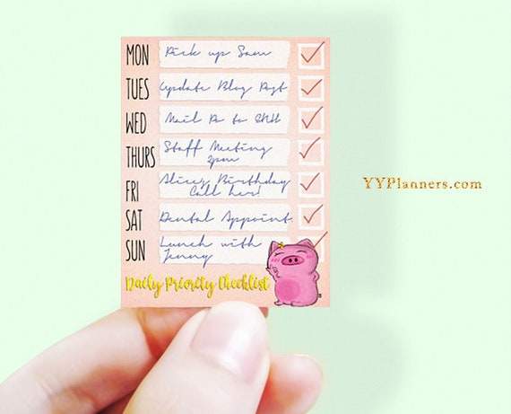Printable Daily Priority Checklist Stickers, Weekly Routine, Chore Stickers, Meeting Stickers, EC Happy Planner, Silhouette Cricut Cut file
