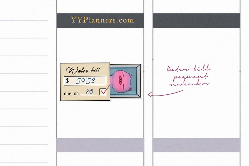 Printable Water Bill Due Stickers Utilities Due Date image 0