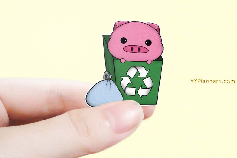 Printable Cute Trash Day Planner Stickers Garbage Stickers image 0