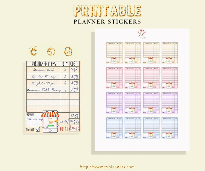5d37b9f23dad5 Etsy Online Order Tracker Stickers Printable, Online Shopping Planner  Stickers, Erin Condren /Happy Planner Addict, Silhouette & Cricut File