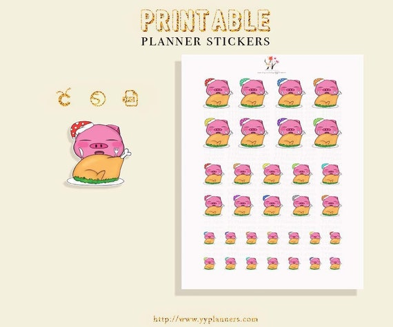 graphic relating to Printable Christmas Stickers referred to as Kawaii Xmas Stickers Printable, Xmas Dinner Planner, Erin Condren/ Satisfied Planner December Stickers, Silhouette Cricut Slash Record
