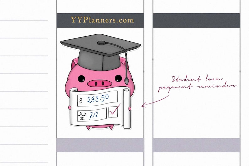 Printable Student Loan Payment Due Stickers Payment Tracker image 0