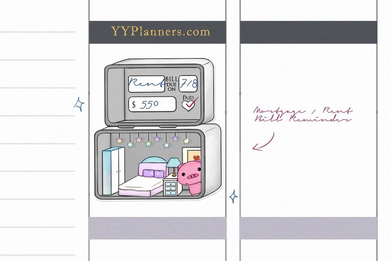 Printable Rent /Mortgage Payment Due Stickers House Planner image 0