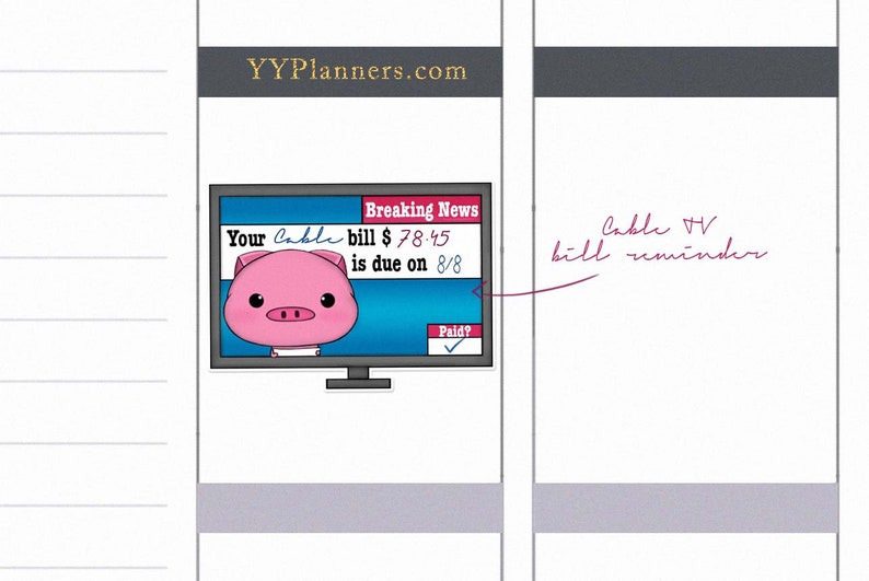 Printable Cable/ TV Bill Due Stickers Bill Payment Tracker image 0
