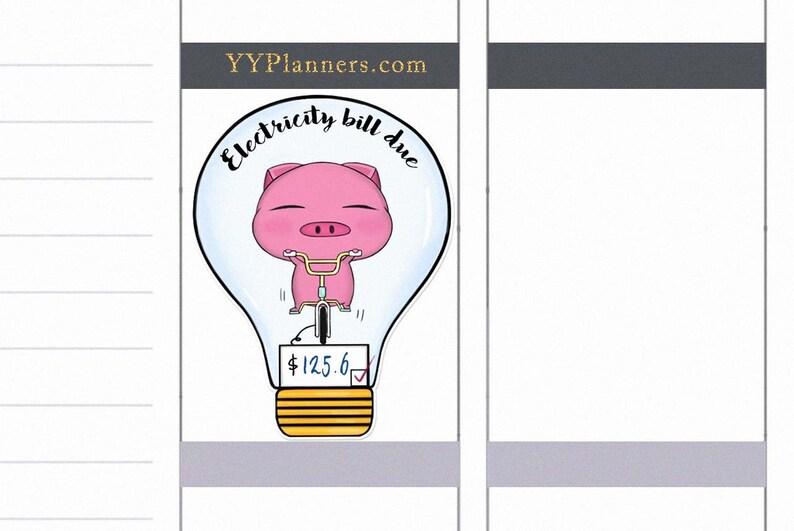 Kawaii Printable Electricity Bill Due Stickers Utilities image 0