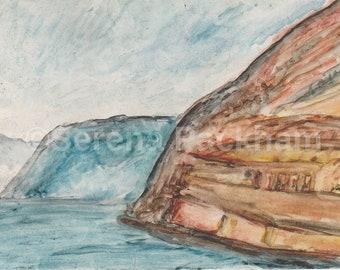 Contemporary Welsh coastal landscape print